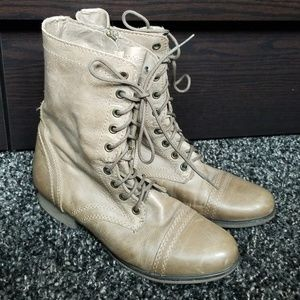 """Tan """"Troopa"""" Combat Boots by Steve Madden"""